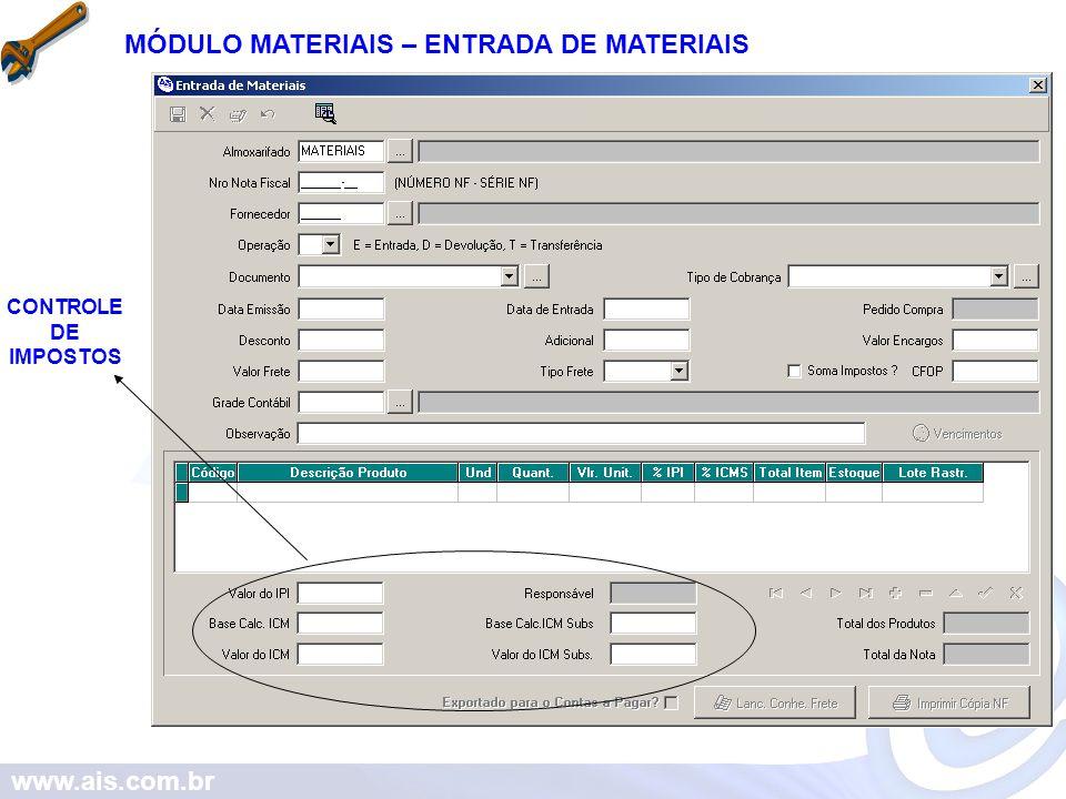 www.ais.com.br MÓDULO MATERIAIS – ENTRADA DE MATERIAIS CONTROLE DE IMPOSTOS