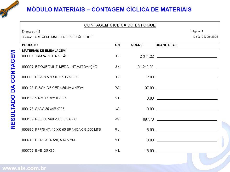 www.ais.com.br MÓDULO MATERIAIS – CONTAGEM CÍCLICA DE MATERIAIS RESULTADO DA CONTAGEM