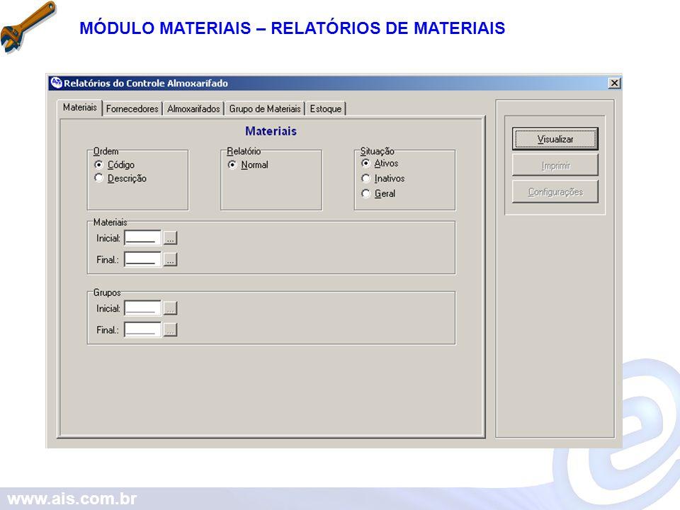 www.ais.com.br MÓDULO MATERIAIS – RELATÓRIOS DE MATERIAIS