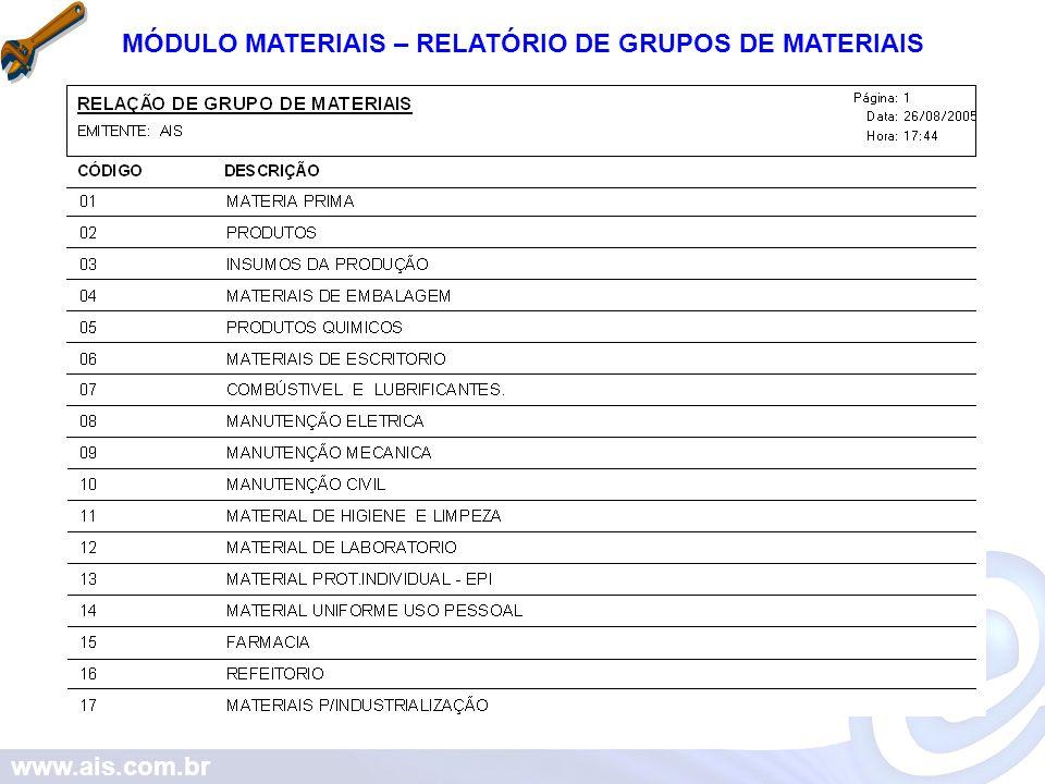 www.ais.com.br MÓDULO MATERIAIS – RELATÓRIO DE GRUPOS DE MATERIAIS