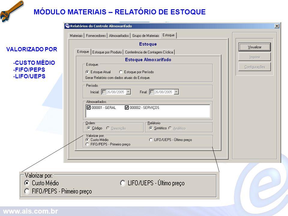 www.ais.com.br MÓDULO MATERIAIS – RELATÓRIO DE ESTOQUE VALORIZADO POR -CUSTO MÉDIO -FIFO/PEPS -LIFO/UEPS