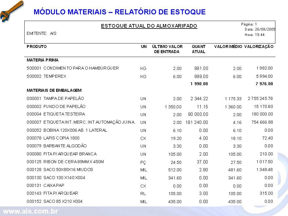 www.ais.com.br MÓDULO MATERIAIS – RELATÓRIO DE ESTOQUE