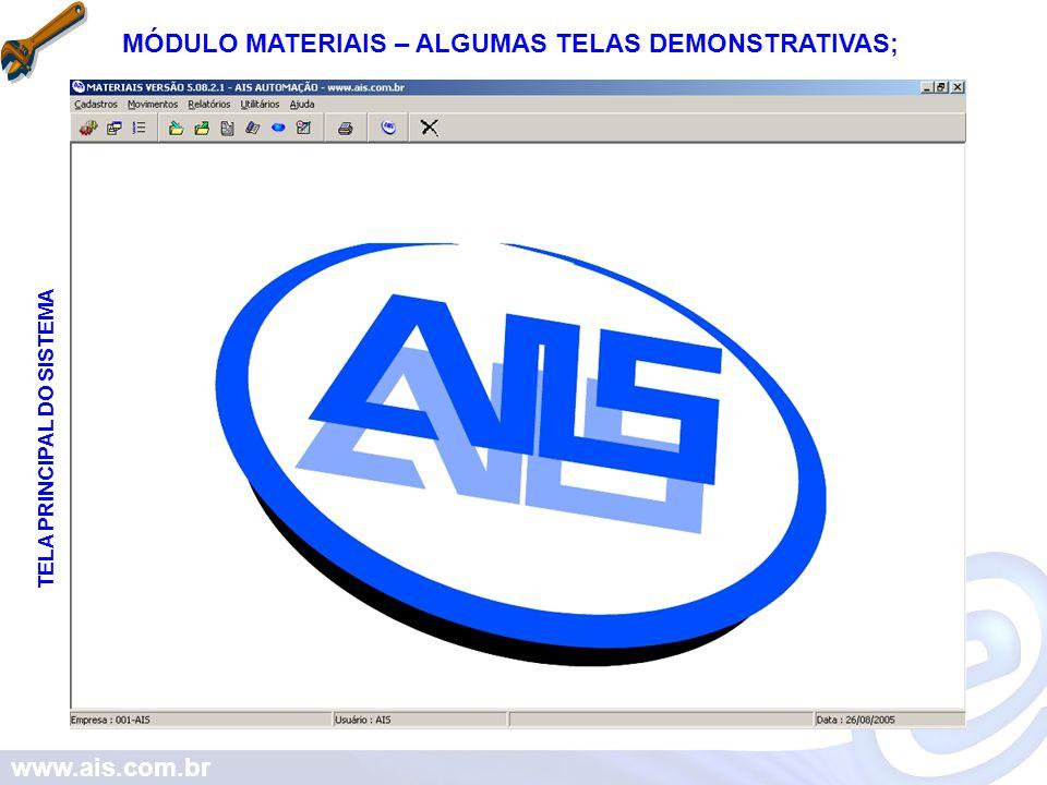www.ais.com.br MÓDULO MATERIAIS – ALGUNS MENUS DO SISTEMA; CADASTROS MOVIMENTOS RELATÓRIOS