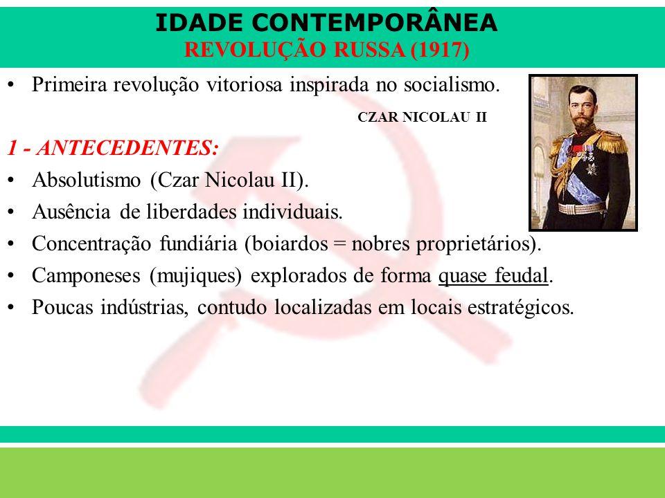 IDADE CONTEMPORÂNEA Sartre COC lenefidelis@terra.com.br REVOLUÇÃO RUSSA (1917) Primeira revolução vitoriosa inspirada no socialismo.
