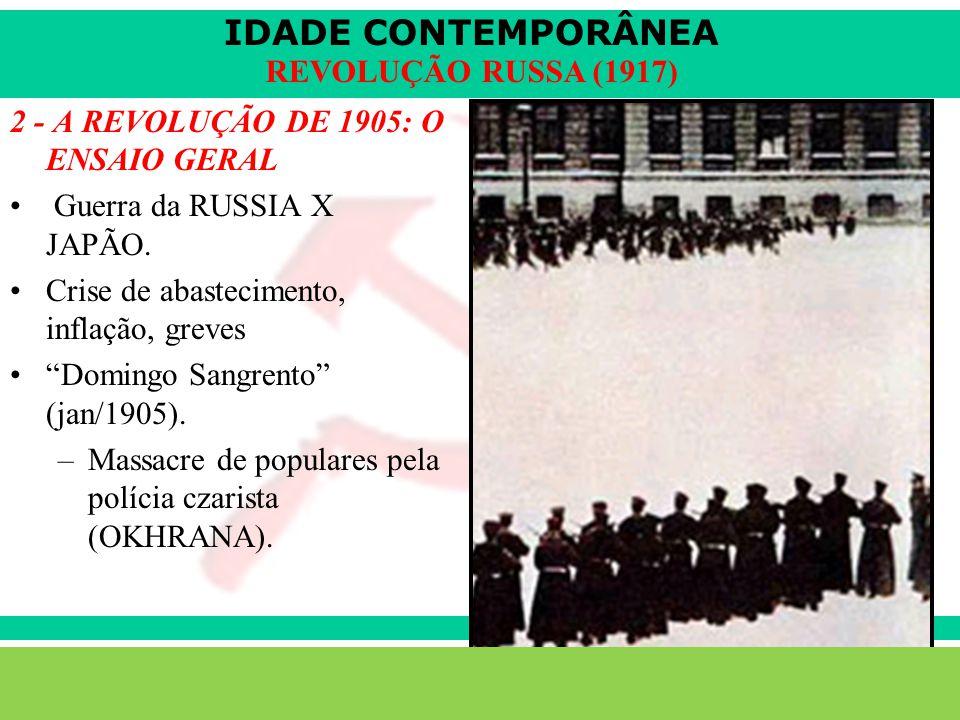 IDADE CONTEMPORÂNEA Sartre COC lenefidelis@terra.com.br REVOLUÇÃO RUSSA (1917) 2 - A REVOLUÇÃO DE 1905: O ENSAIO GERAL Guerra da RUSSIA X JAPÃO.