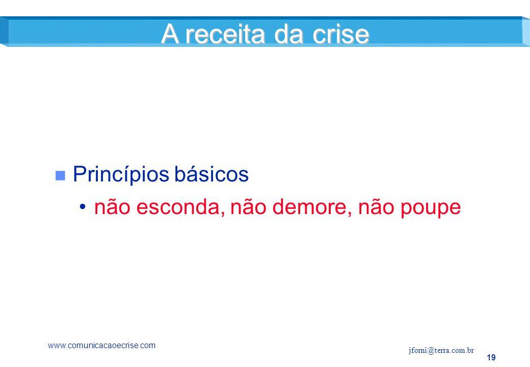 19 n Princípios básicos não esconda, não demore, não poupe A receita da crise www.comunicacaoecrise.com jforni@terra.com.br