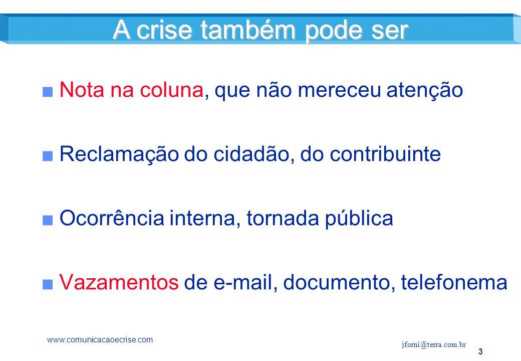 14 O processo de gestão da crise Gestão de riscoGestão de risco Gestão de criseGestão de crise Pós-crisePós-crise www.comunicacaoecrise.com jforni@terra.com.br