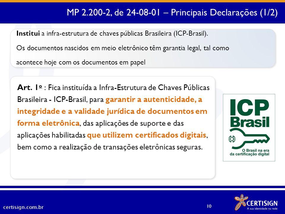 certisign.com.br 10 Art. 1 o : Fica instituída a Infra-Estrutura de Chaves Públicas Brasileira - ICP-Brasil, para garantir a autenticidade, a integrid