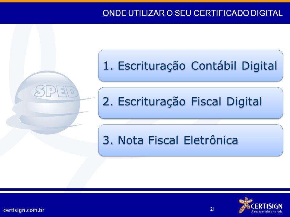 certisign.com.br 21 1. Escrituração Contábil Digital 2. Escrituração Fiscal Digital 3. Nota Fiscal Eletrônica ONDE UTILIZAR O SEU CERTIFICADO DIGITAL