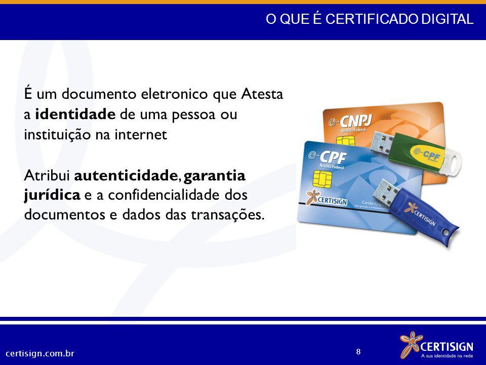 certisign.com.br 8 É um documento eletronico que Atesta a identidade de uma pessoa ou instituição na internet Atribui autenticidade, garantia jurídica