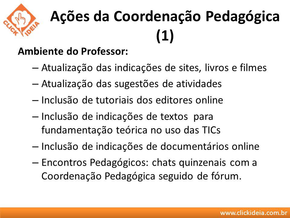 www.clickideia.com.br Ações da Coordenação Pedagógica (1) Ambiente do Professor: – Atualização das indicações de sites, livros e filmes – Atualização
