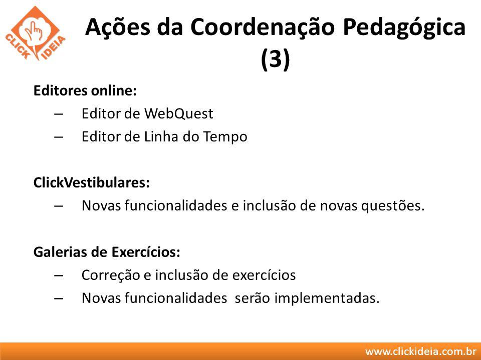 www.clickideia.com.br Ações da Coordenação Pedagógica (3) Editores online: – Editor de WebQuest – Editor de Linha do Tempo ClickVestibulares: – Novas