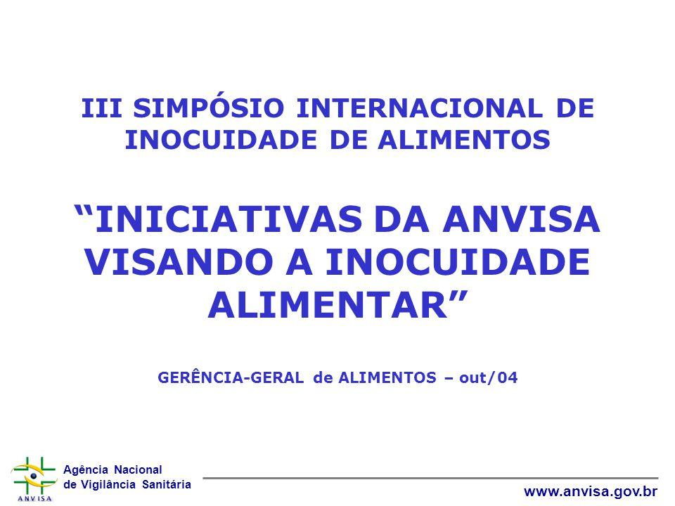 Agência Nacional de Vigilância Sanitária www.anvisa.gov.br III SIMPÓSIO INTERNACIONAL DE INOCUIDADE DE ALIMENTOS INICIATIVAS DA ANVISA VISANDO A INOCU