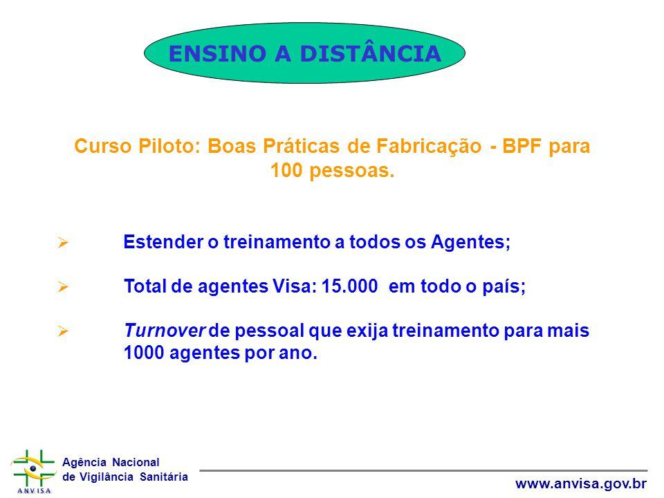 Agência Nacional de Vigilância Sanitária www.anvisa.gov.br Curso Piloto: Boas Práticas de Fabricação - BPF para 100 pessoas. Estender o treinamento a