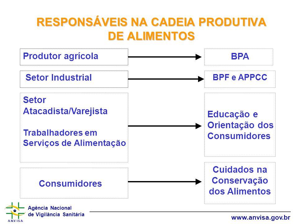 Agência Nacional de Vigilância Sanitária www.anvisa.gov.br RESPONSÁVEIS NA CADEIA PRODUTIVA DE ALIMENTOS Educação e Orientação dos Consumidores Setor