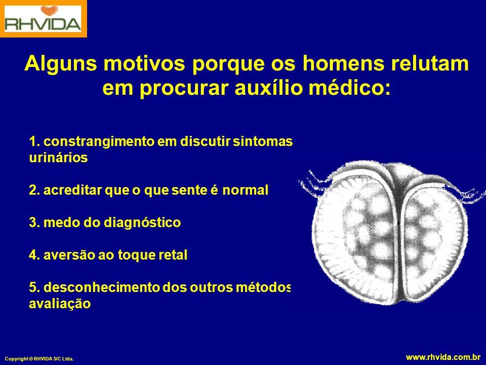www.rhvida.com.br Copyright © RHVIDA S/C Ltda. 1. constrangimento em discutir sintomas urinários 2. acreditar que o que sente é normal 3. medo do diag
