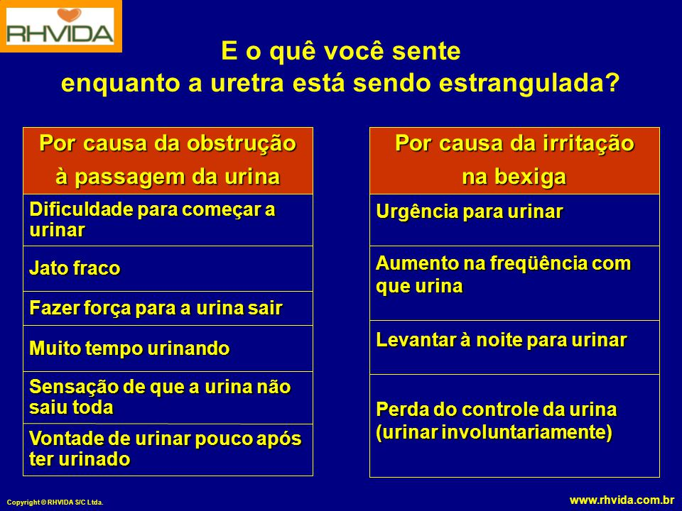 www.rhvida.com.br Copyright © RHVIDA S/C Ltda. E o quê você sente enquanto a uretra está sendo estrangulada? Vontade de urinar pouco após ter urinado