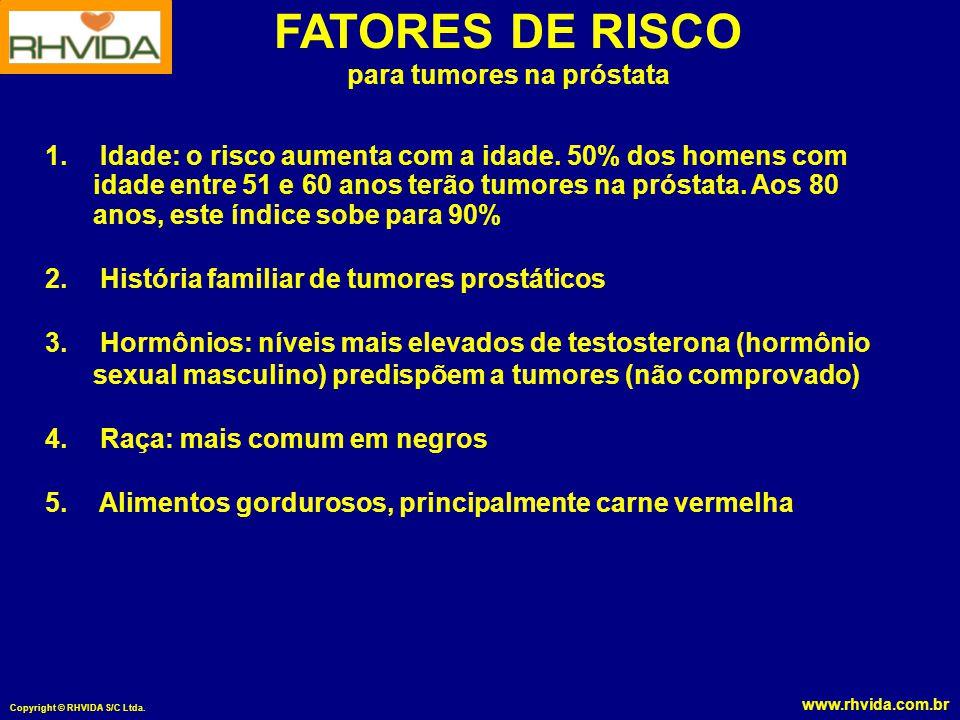 www.rhvida.com.br Copyright © RHVIDA S/C Ltda. FATORES DE RISCO para tumores na próstata 1. Idade: o risco aumenta com a idade. 50% dos homens com ida