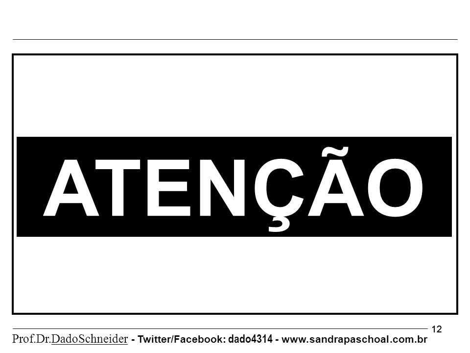12 ATENÇÃO Prof.Dr.DadoSchneider - Twitter/Facebook: dado4314 - www. sandrapaschoal.com.br