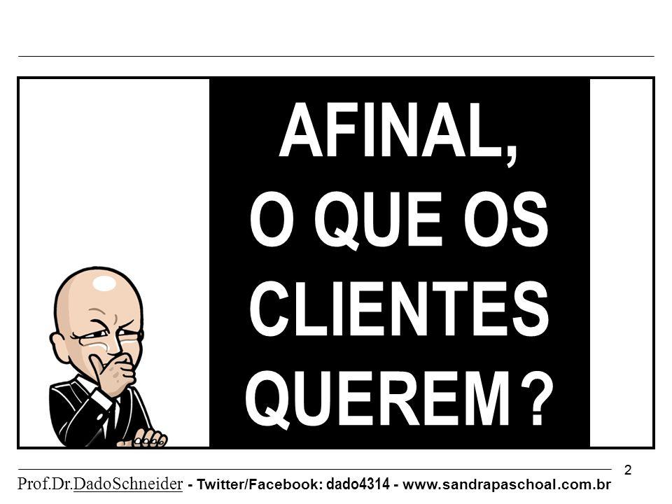 22 AFINAL, O QUE OS CLIENTES QUEREM . Prof.Dr.DadoSchneider - Twitter/Facebook: dado4314 - www.