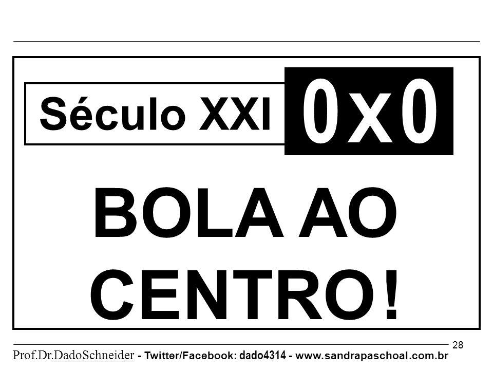 28 0 X 0 BOLA AO CENTRO . Século XXI Prof.Dr.DadoSchneider - Twitter/Facebook: dado4314 - www.