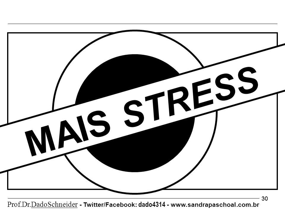 30 MAIS STRESS Prof.Dr.DadoSchneider - Twitter/Facebook: dado4314 - www. sandrapaschoal.com.br