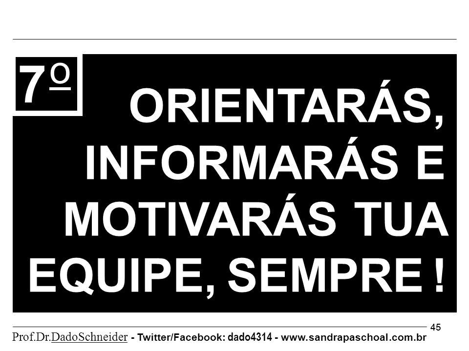 45 7 o ORIENTARÁS, INFORMARÁS E MOTIVARÁS TUA EQUIPE, SEMPRE ! Prof.Dr.DadoSchneider - Twitter/Facebook: dado4314 - www. sandrapaschoal.com.br