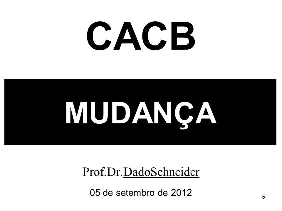 5 MUDANÇA Prof.Dr.DadoSchneider 05 de setembro de 2012 CACB