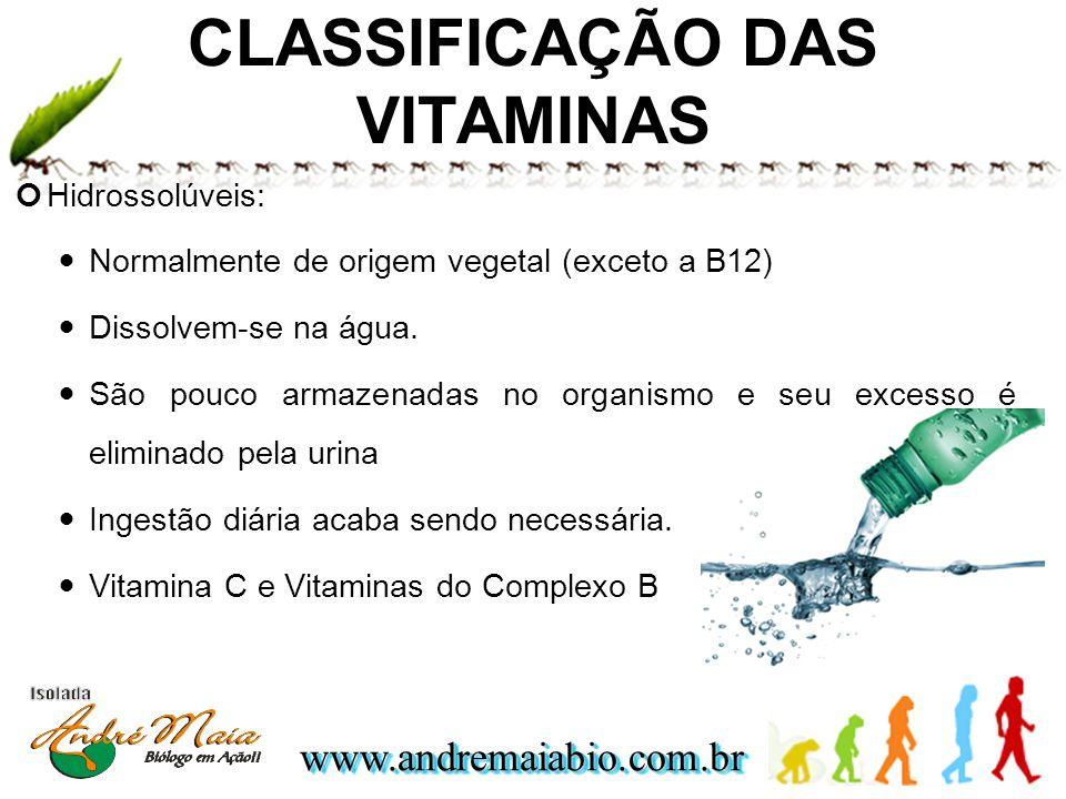 www.andremaiabio.com.brwww.andremaiabio.com.br CLASSIFICAÇÃO DAS VITAMINAS Hidrossolúveis: Normalmente de origem vegetal (exceto a B12) Dissolvem-se n