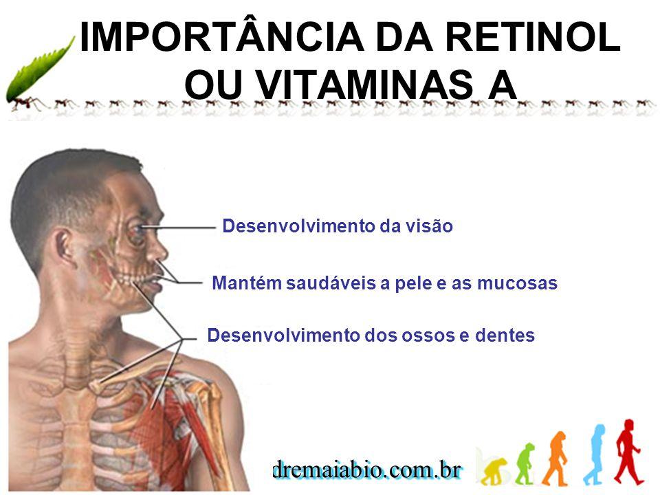 www.andremaiabio.com.brwww.andremaiabio.com.br IMPORTÂNCIA DA RETINOL OU VITAMINAS A Desenvolvimento da visão Mantém saudáveis a pele e as mucosas Des