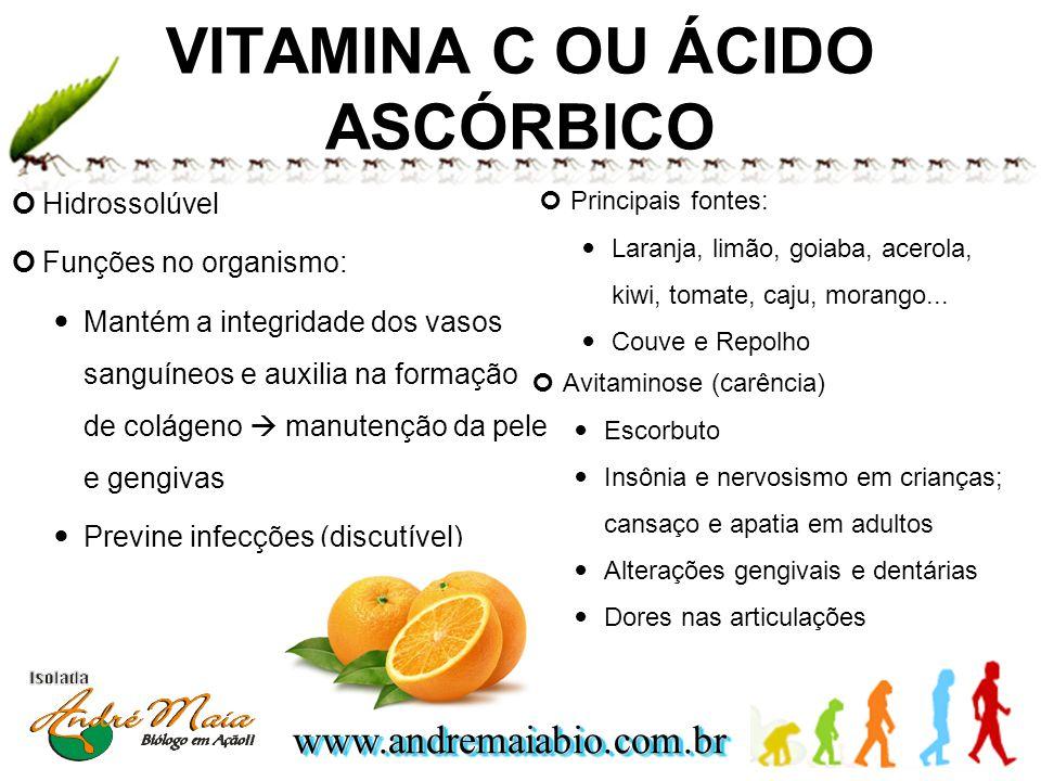 www.andremaiabio.com.brwww.andremaiabio.com.br VITAMINA C OU ÁCIDO ASCÓRBICO Hidrossolúvel Funções no organismo: Mantém a integridade dos vasos sanguí