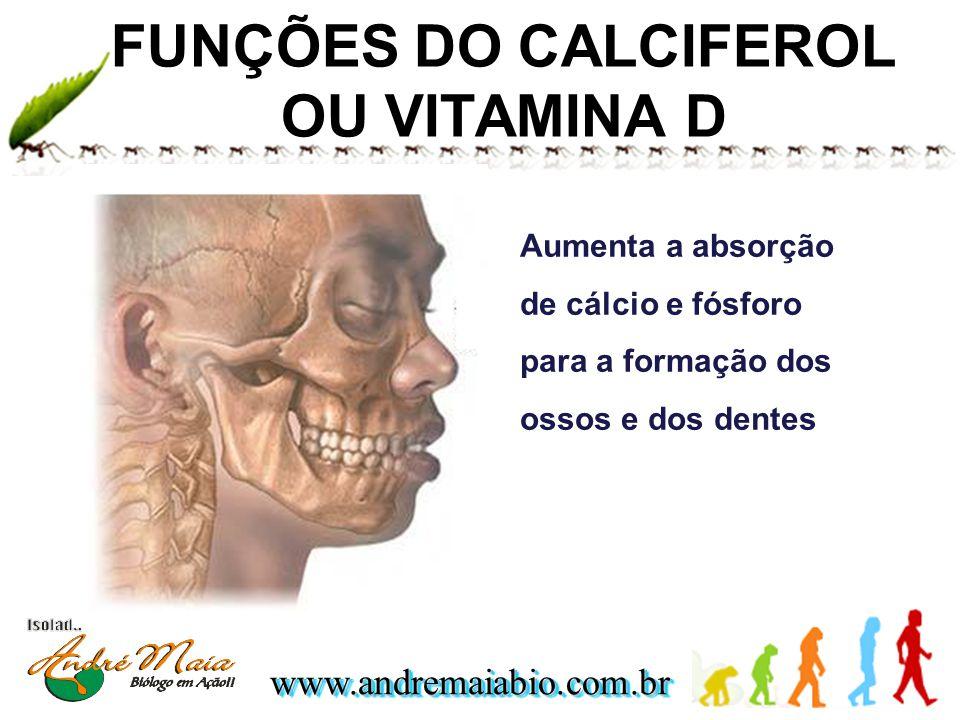 www.andremaiabio.com.brwww.andremaiabio.com.br FUNÇÕES DO CALCIFEROL OU VITAMINA D Aumenta a absorção de cálcio e fósforo para a formação dos ossos e