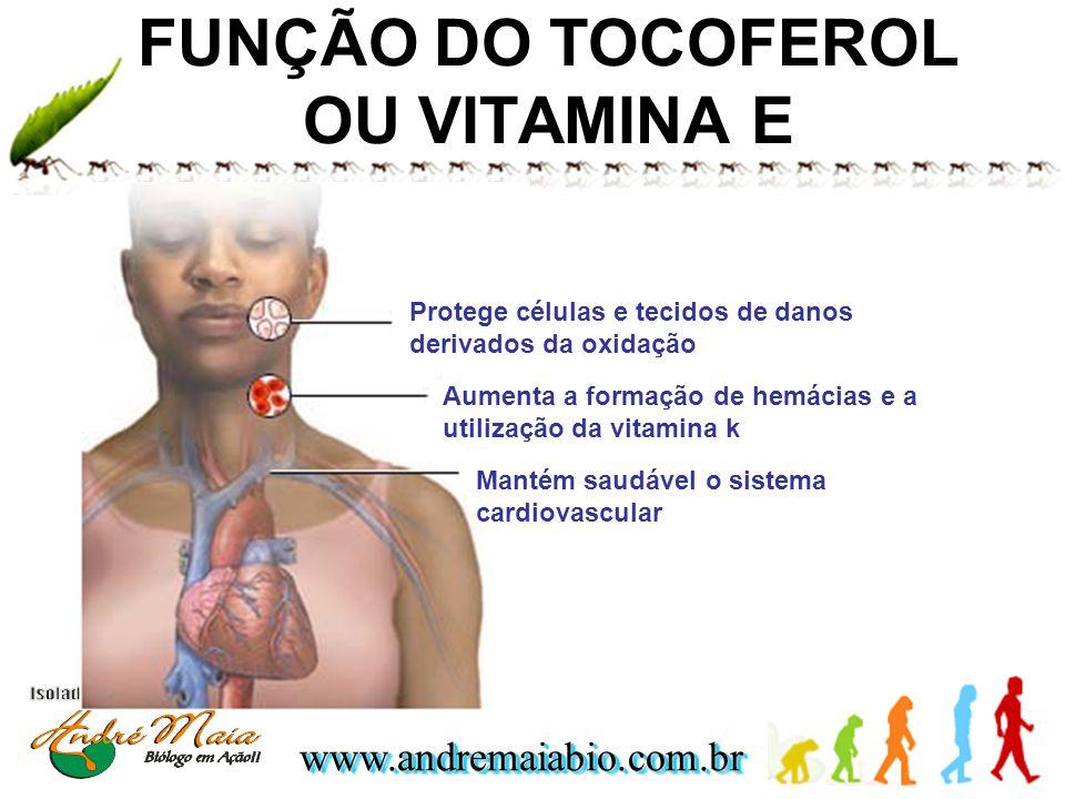 www.andremaiabio.com.brwww.andremaiabio.com.br FUNÇÃO DO TOCOFEROL OU VITAMINA E Protege células e tecidos de danos derivados da oxidação Aumenta a fo