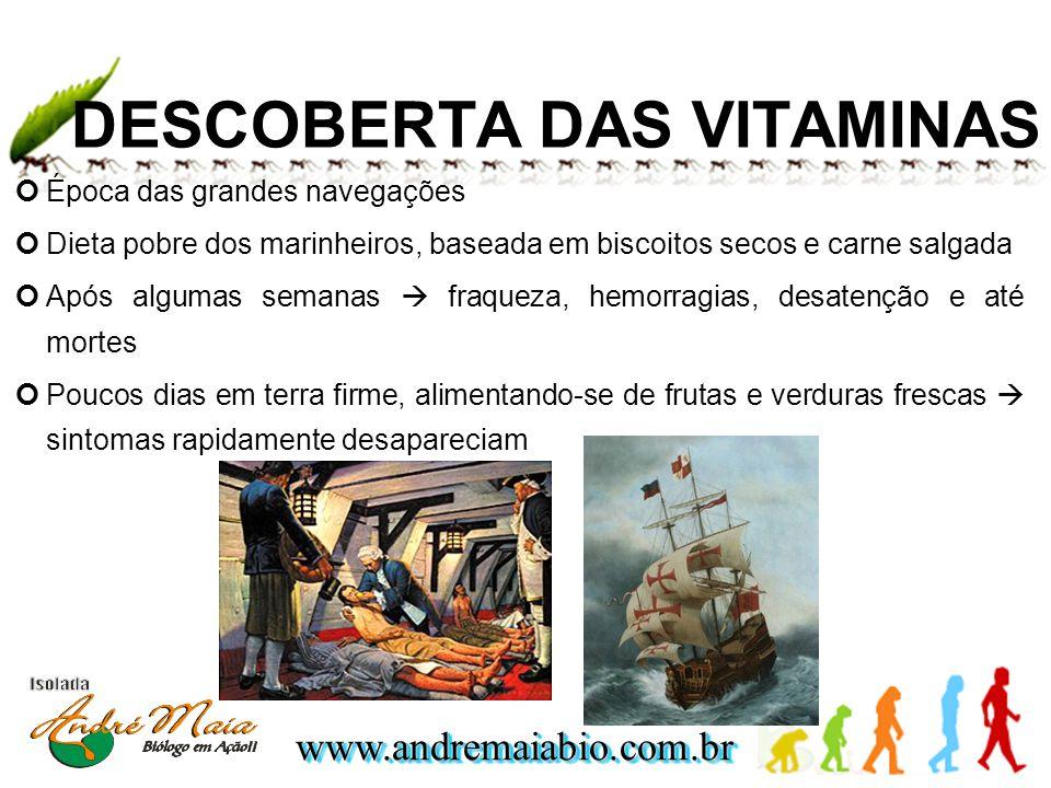 www.andremaiabio.com.brwww.andremaiabio.com.br DESCOBERTA DAS VITAMINAS Época das grandes navegações Dieta pobre dos marinheiros, baseada em biscoitos