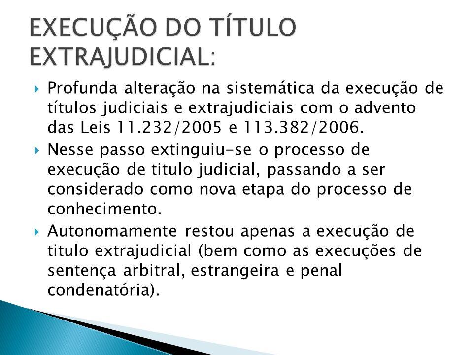 Profunda alteração na sistemática da execução de títulos judiciais e extrajudiciais com o advento das Leis 11.232/2005 e 113.382/2006.