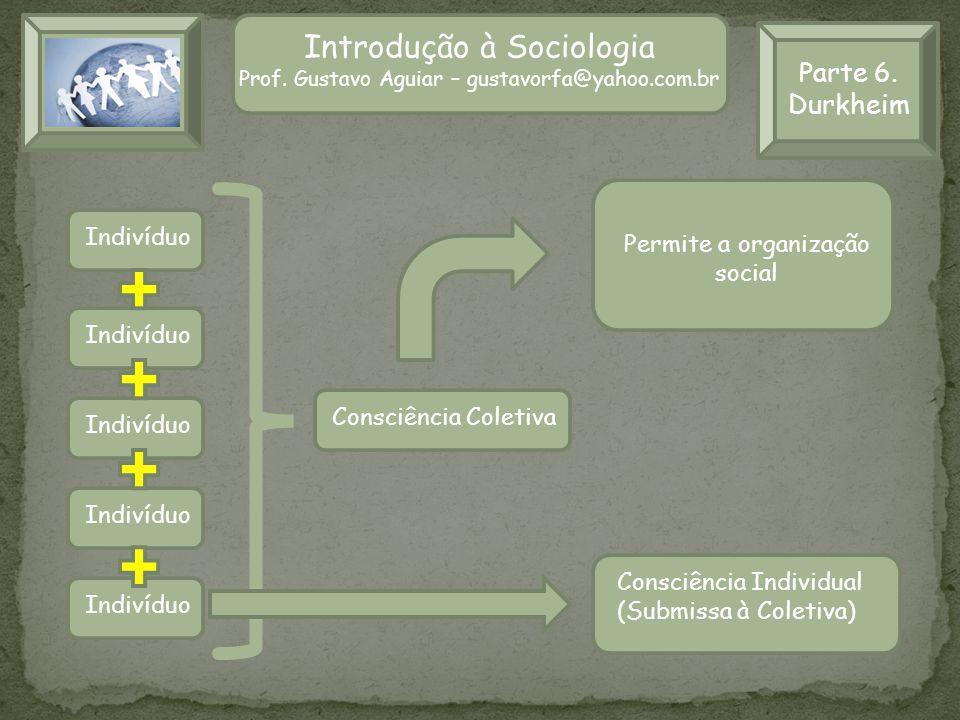 Parte 6. Durkheim Introdução à Sociologia Prof. Gustavo Aguiar – gustavorfa@yahoo.com.br Indivíduo Consciência Coletiva Consciência Individual (Submis