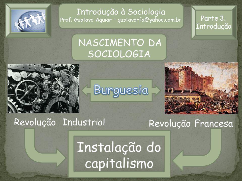 Parte 3. Introdução Introdução à Sociologia Prof. Gustavo Aguiar – gustavorfa@yahoo.com.br Revolução Industrial Revolução Francesa Instalação do capit