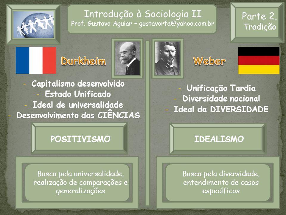 Introdução à Sociologia II Prof. Gustavo Aguiar – gustavorfa@yahoo.com.br Parte 2. Tradição - Capitalismo desenvolvido - Estado Unificado - Ideal de u