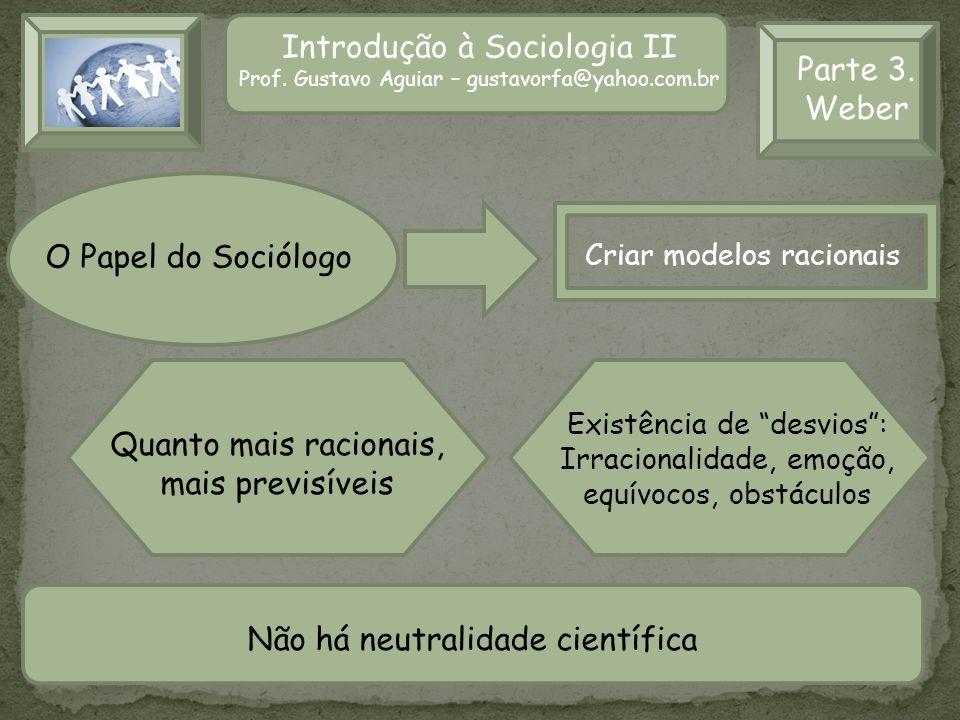 Introdução à Sociologia II Prof. Gustavo Aguiar – gustavorfa@yahoo.com.br Parte 3. Weber O Papel do Sociólogo Criar modelos racionais Quanto mais raci