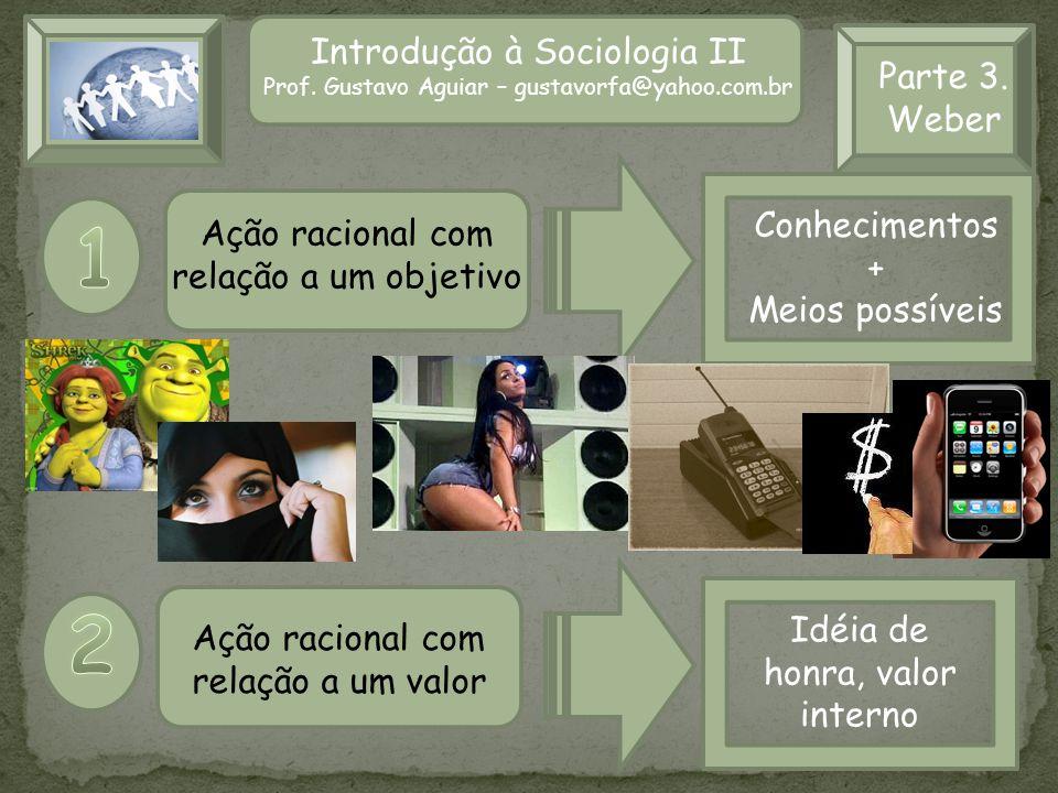 Introdução à Sociologia II Prof. Gustavo Aguiar – gustavorfa@yahoo.com.br Parte 3. Weber Ação racional com relação a um objetivo Ação racional com rel