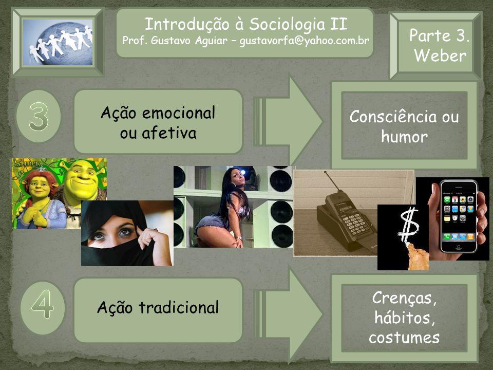 Introdução à Sociologia II Prof. Gustavo Aguiar – gustavorfa@yahoo.com.br Parte 3. Weber Ação emocional ou afetiva Ação tradicional Consciência ou hum