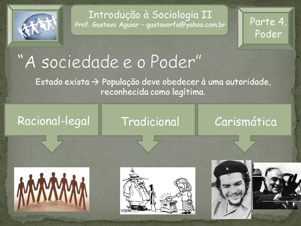 Introdução à Sociologia II Prof. Gustavo Aguiar – gustavorfa@yahoo.com.br Parte 4. Poder Estado exista População deve obedecer à uma autoridade, recon