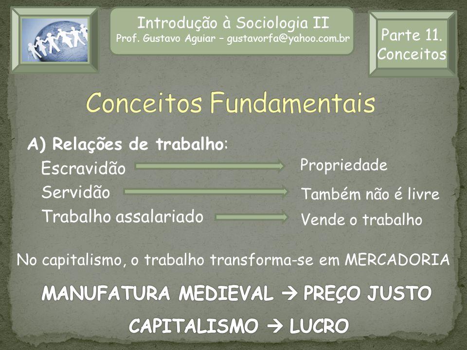 Introdução à Sociologia II Prof. Gustavo Aguiar – gustavorfa@yahoo.com.br Parte 11. Conceitos A) Relações de trabalho: Escravidão Servidão Trabalho as