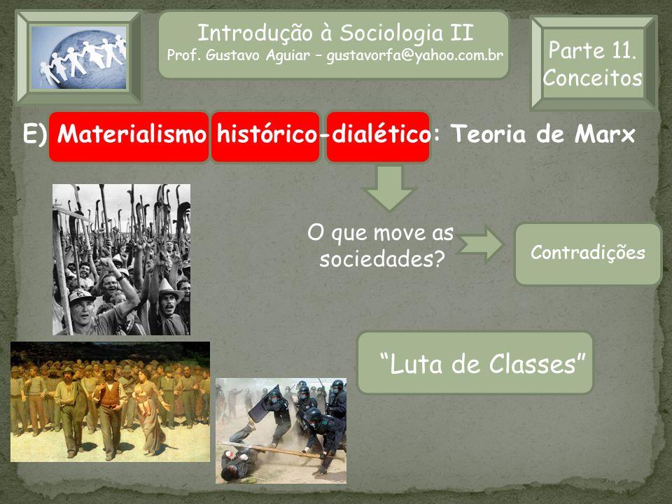 Introdução à Sociologia II Prof. Gustavo Aguiar – gustavorfa@yahoo.com.br Parte 11. Conceitos E) Materialismo histórico-dialético: Teoria de Marx Luta