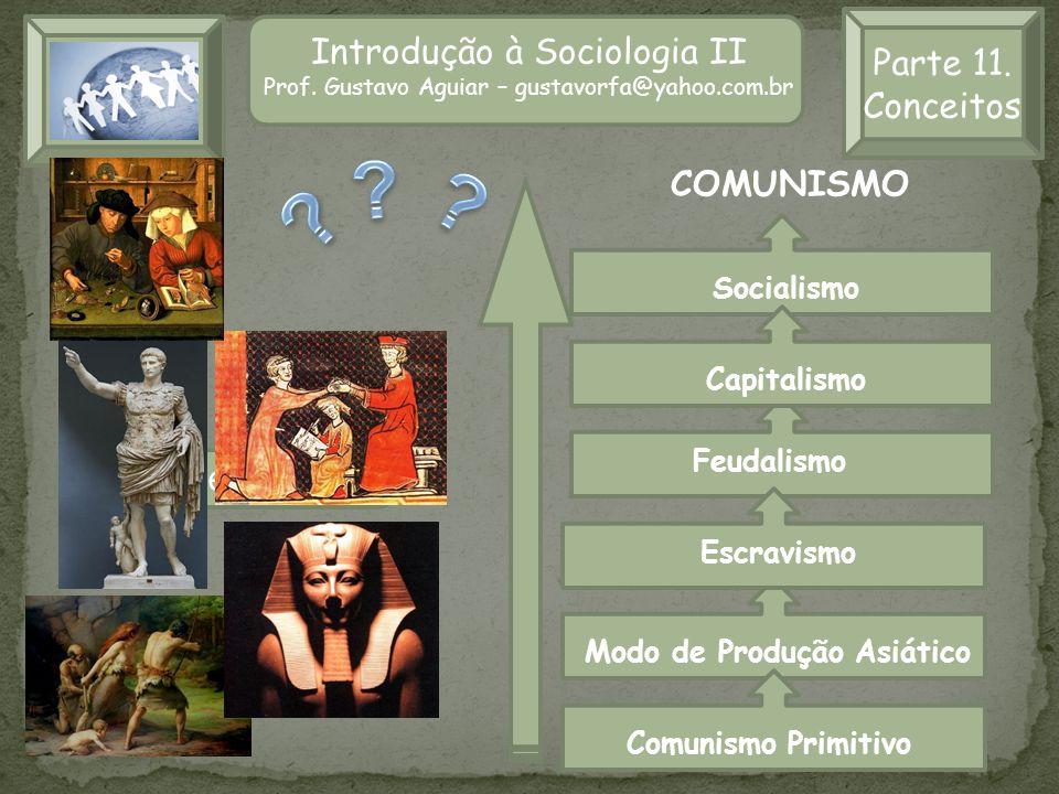 Introdução à Sociologia II Prof. Gustavo Aguiar – gustavorfa@yahoo.com.br Parte 11. Conceitos Comunismo Primitivo Luta de Classes Modo de Produção Asi