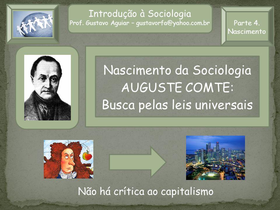 Introdução à Sociologia II Prof.Gustavo Aguiar – gustavorfa@yahoo.com.br Parte 4.
