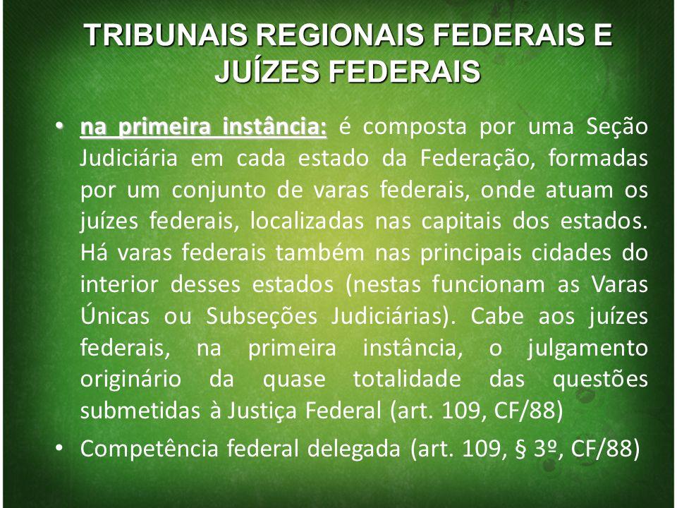 TRIBUNAIS REGIONAIS FEDERAIS E JUÍZES FEDERAIS na primeira instância: na primeira instância: é composta por uma Seção Judiciária em cada estado da Fed