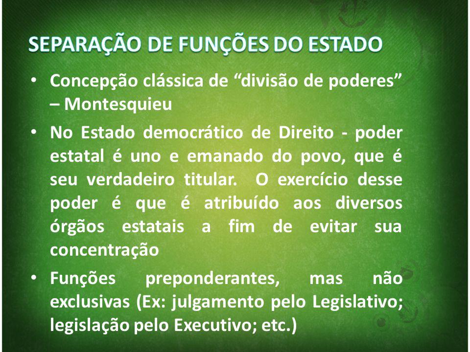 Concepção clássica de divisão de poderes – Montesquieu No Estado democrático de Direito - poder estatal é uno e emanado do povo, que é seu verdadeiro