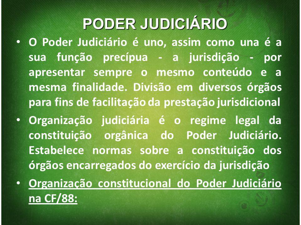 PODER JUDICIÁRIO O Poder Judiciário é uno, assim como una é a sua função precípua - a jurisdição - por apresentar sempre o mesmo conteúdo e a mesma fi
