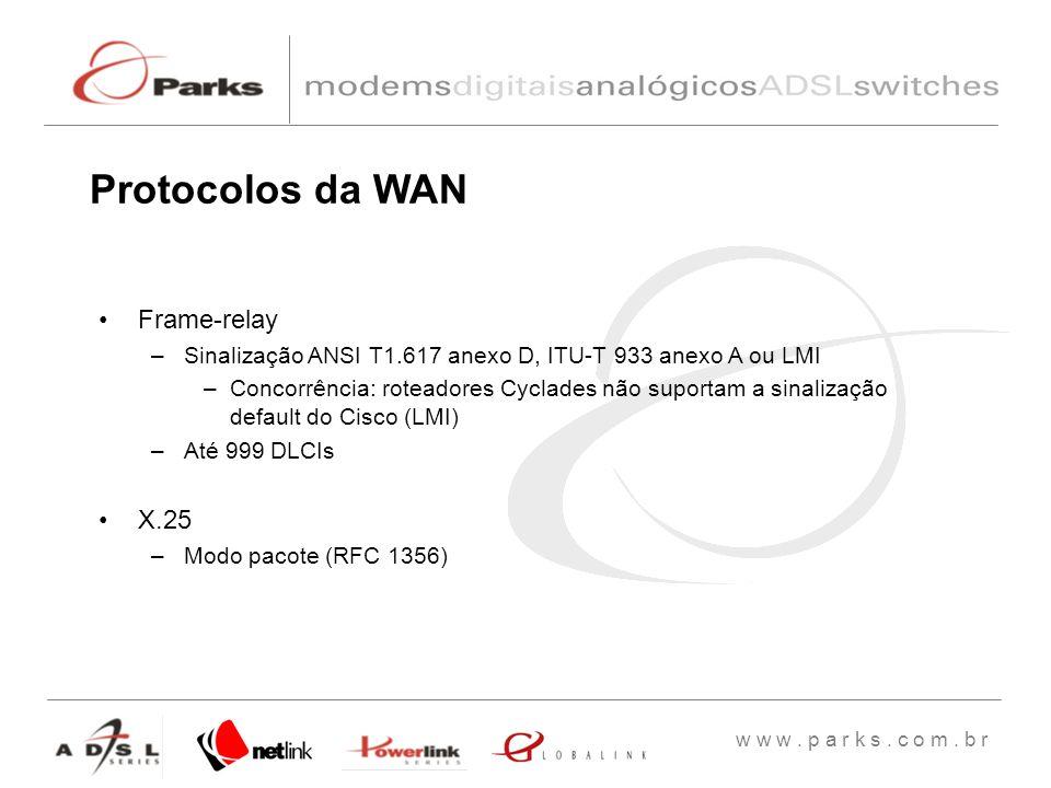w w w. p a r k s. c o m. b r Frame-relay –Sinalização ANSI T1.617 anexo D, ITU-T 933 anexo A ou LMI –Concorrência: roteadores Cyclades não suportam a